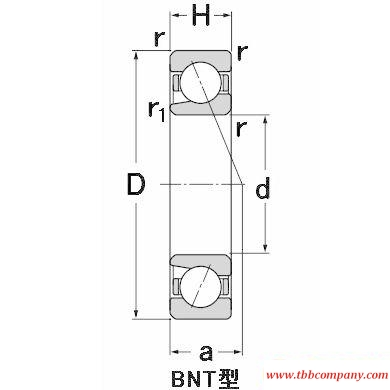 HSB010C High speed single row angular contact ball bearing