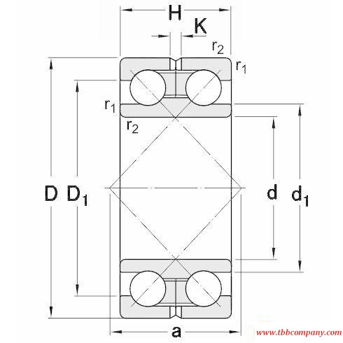 305262 D Double row angular contact ball bearing