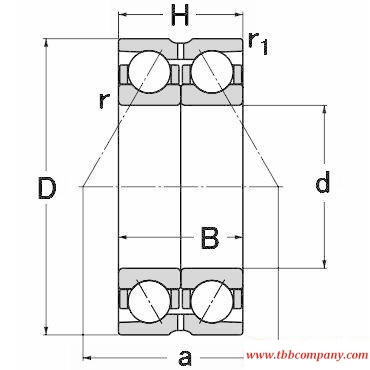 DE2409 Double row angular contact ball bearing