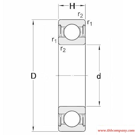 61916-2RZ Single row deep groove ball bearing