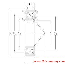 7309BECBP Single row angular contact ball bearing