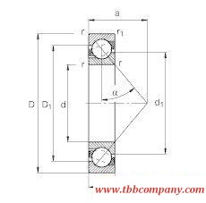 71809-B-TVH Angular contact ball bearing