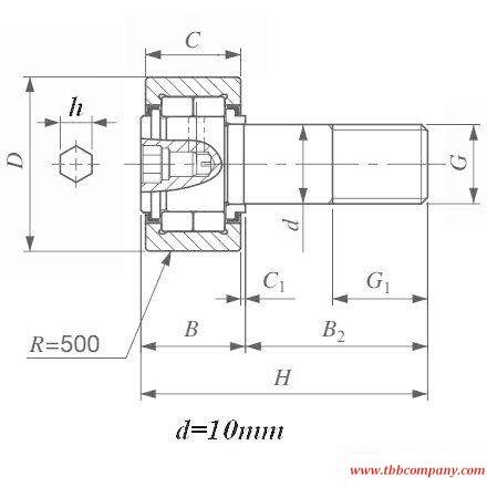 NUCF10-1BR Cam follower bearing double row cylindrical roller bearing