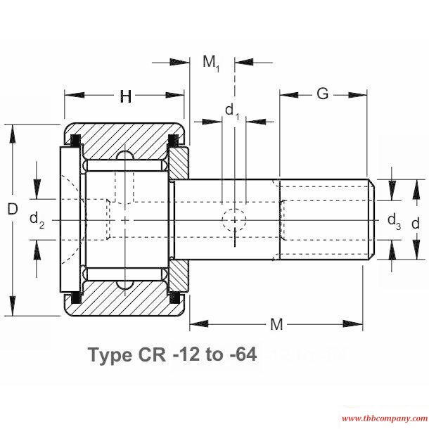 CR-56 Screw bolt track roller bearing