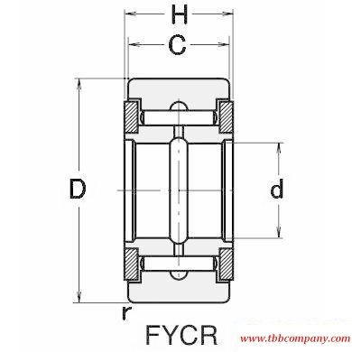FYCR20 Track roller needle roller bearing with collar